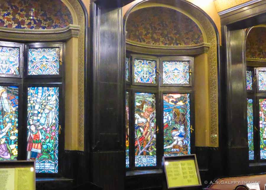Stained glass windows at the Palace of Culture in Târgu Mures