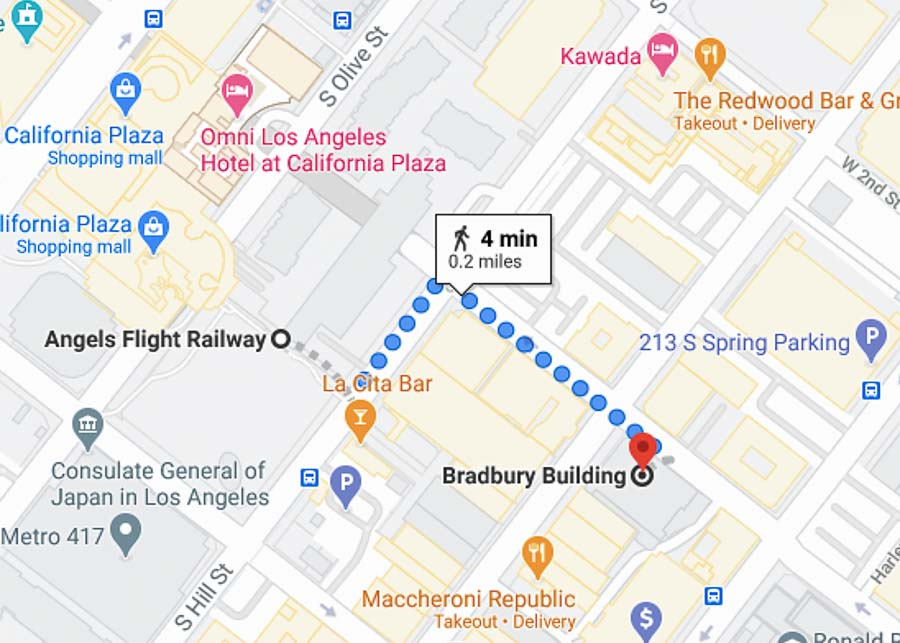 map of a self guided tour in Downtown Los Angeles