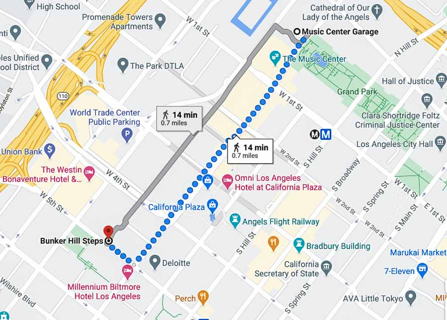 Self guided walking tour map of Downtown Los Angeles