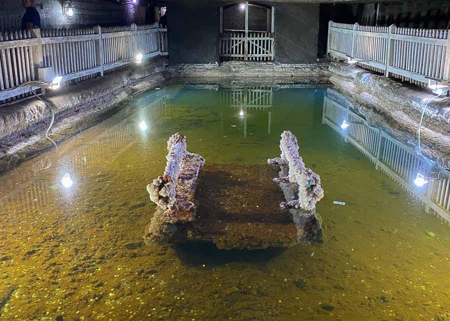 The brine pool at Cacica salt mine in Bucovina, Romania