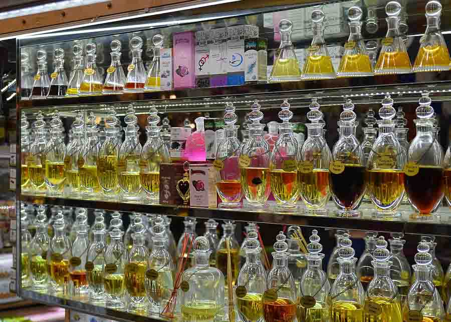 French perfumes on shelves