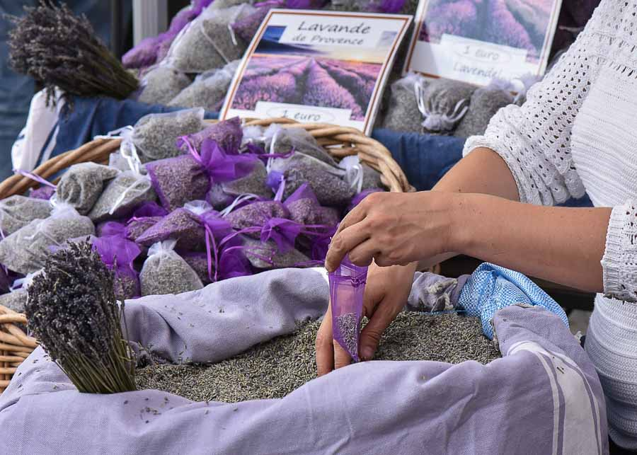 Lavender sachets sold at the market