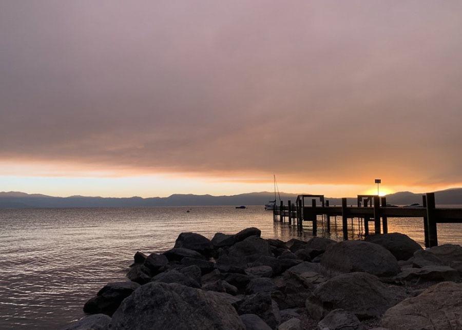 view of Chambers Landing beach at sunset