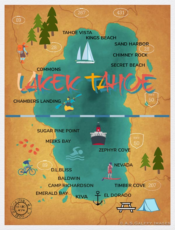 map of the beaches in Lake Tahoe