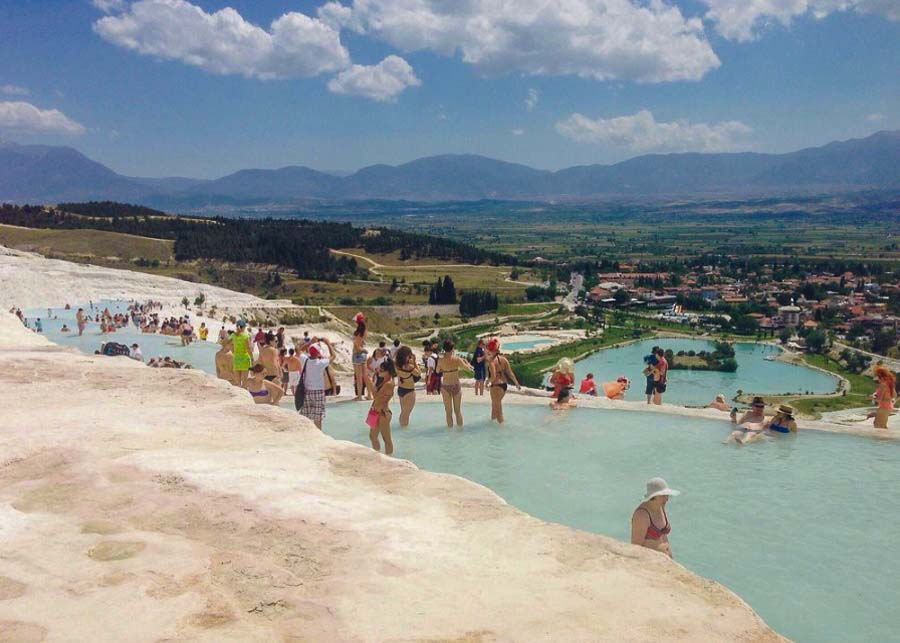 Soaking in the thermal pools of Pamukkale