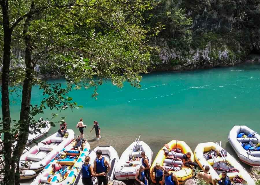 Water rafting in the Tara River Canyon