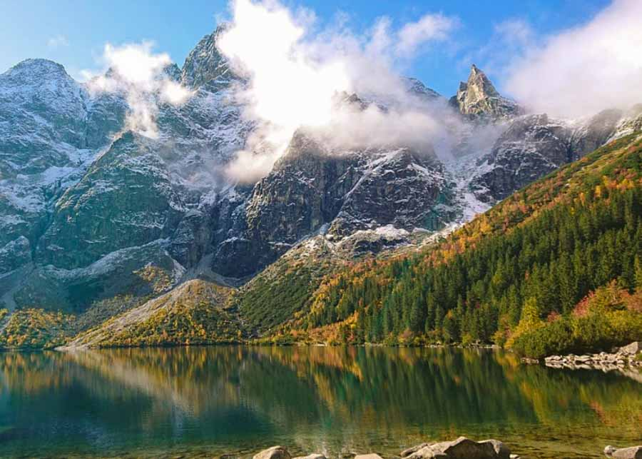 View of mountain peaks in Tatra Mountains in Poland