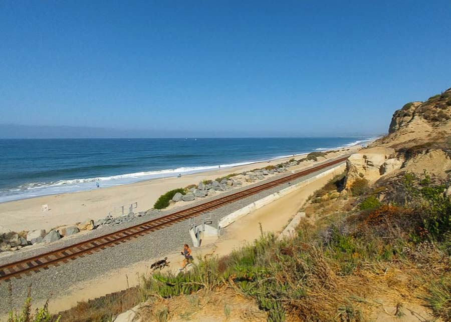 View of the train tracks in San Clemente State Beach