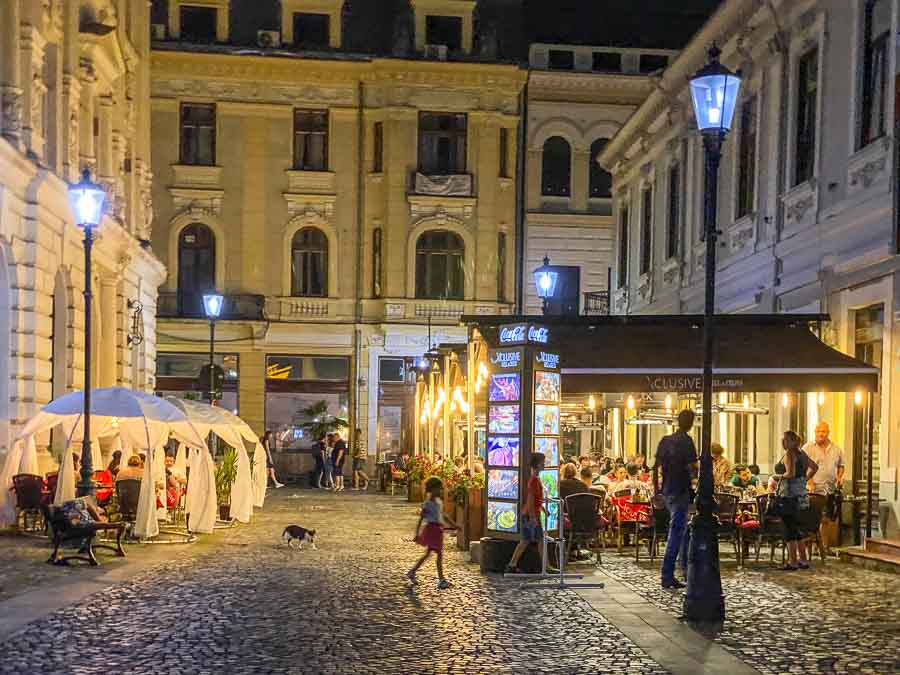 Bucharest Old Town at night