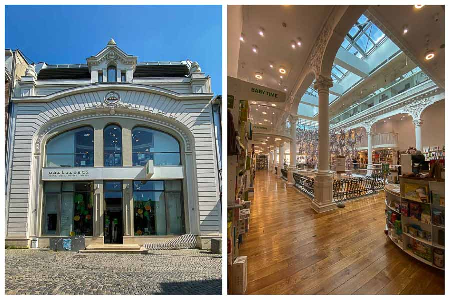 Exterior and interior view of Carturesti Bookstore in Bucharest