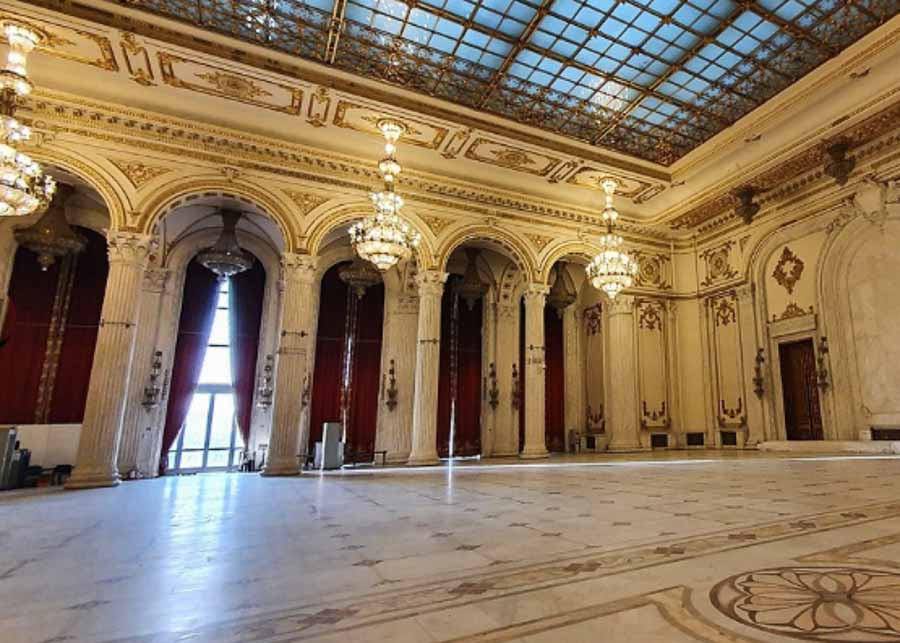 inside the Palace of Parliament in Bucharest