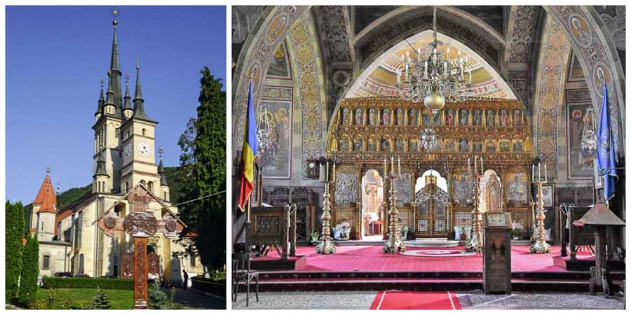 Interior and exterior view of St. Nicholas Church in Brasov