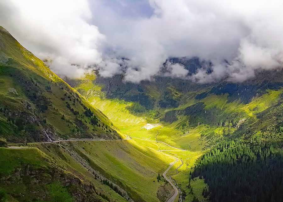 The beautiful landscape around the Transfagarasan Highway in Romania