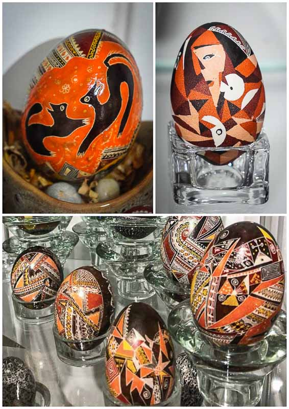 Easter eggs painted with Abstract motifs
