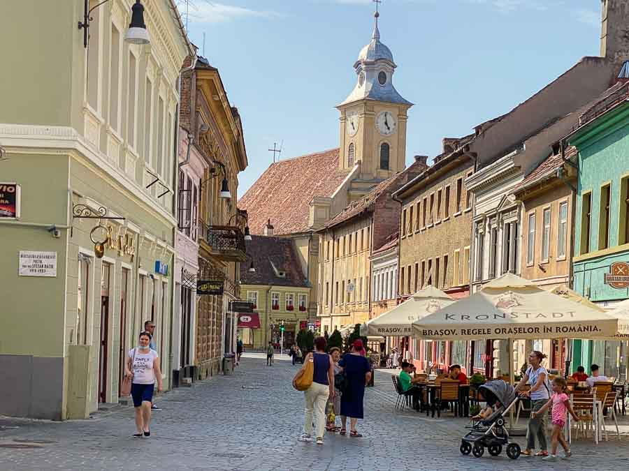 Strolling through the Old Town streets in Brasov