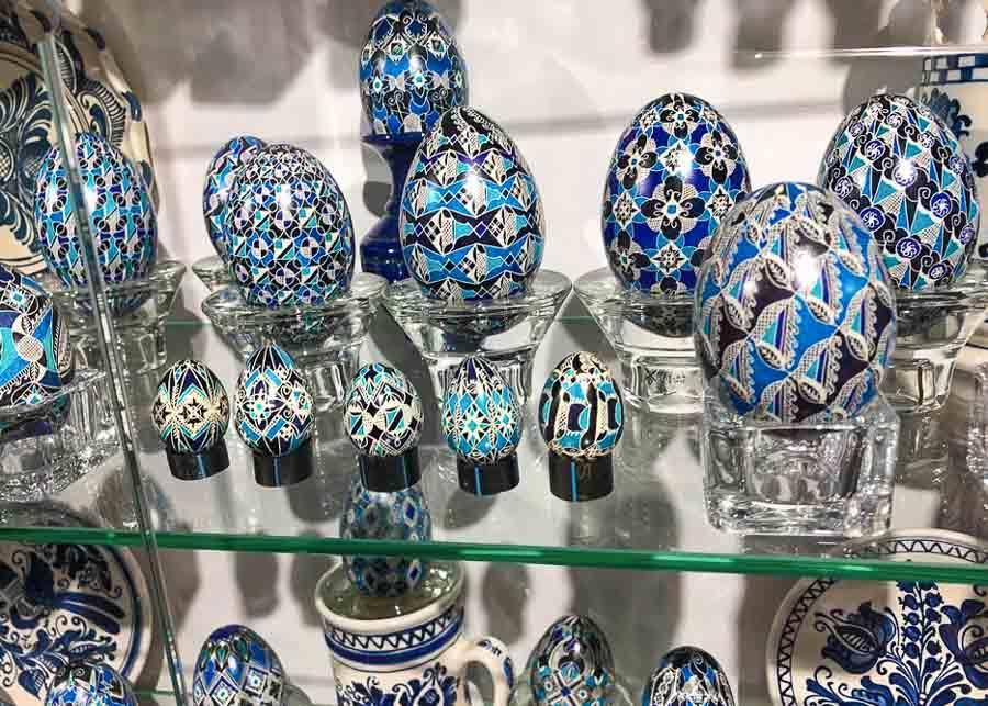 Easter eggs display at the Eggs Museum in Moldovita, Romania