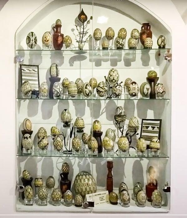 Case display at Eggs Museum in Moldovita