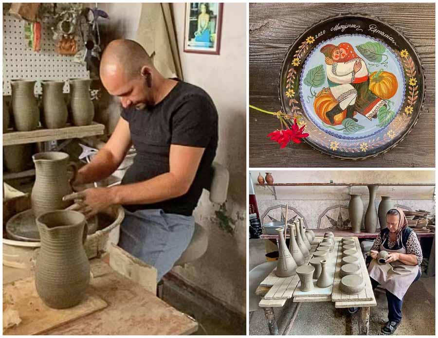 Artisans manufacturing black ceramic at Marginea