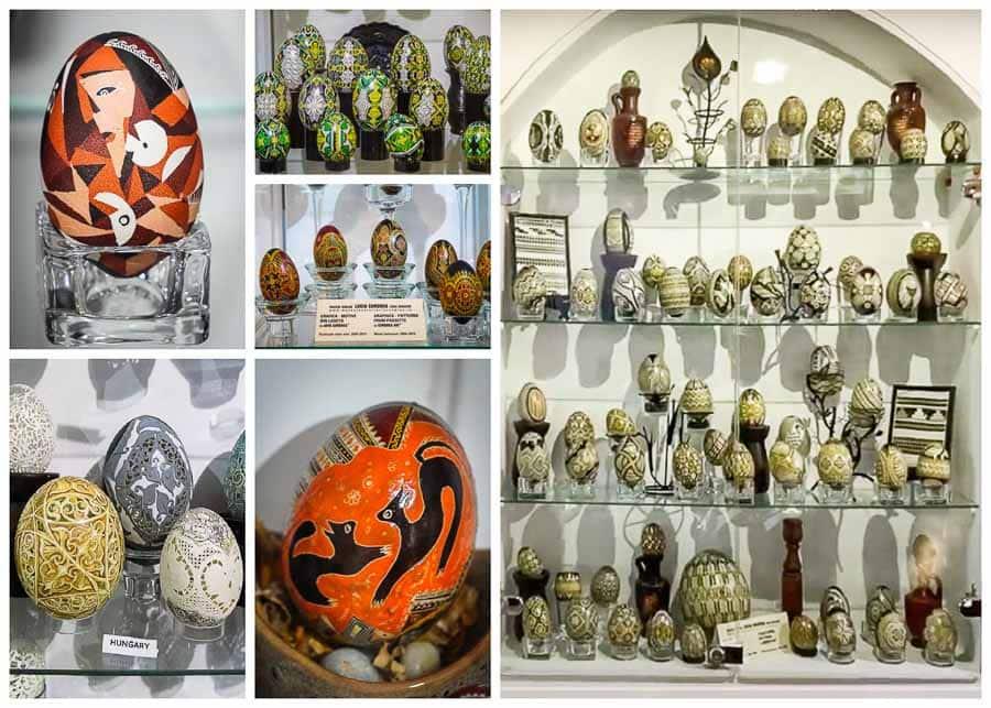 "Case displays at the Painted Eggs Museum ""Lucia Condrea"" in Bucovina, Romania"