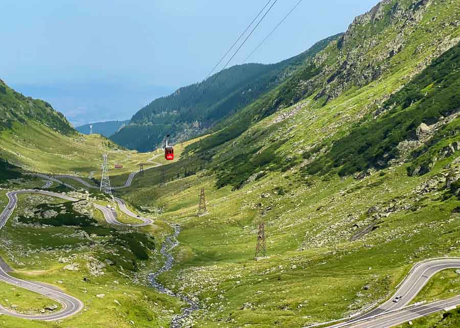 View of the Transfagarasan Highway from the top of the mountain