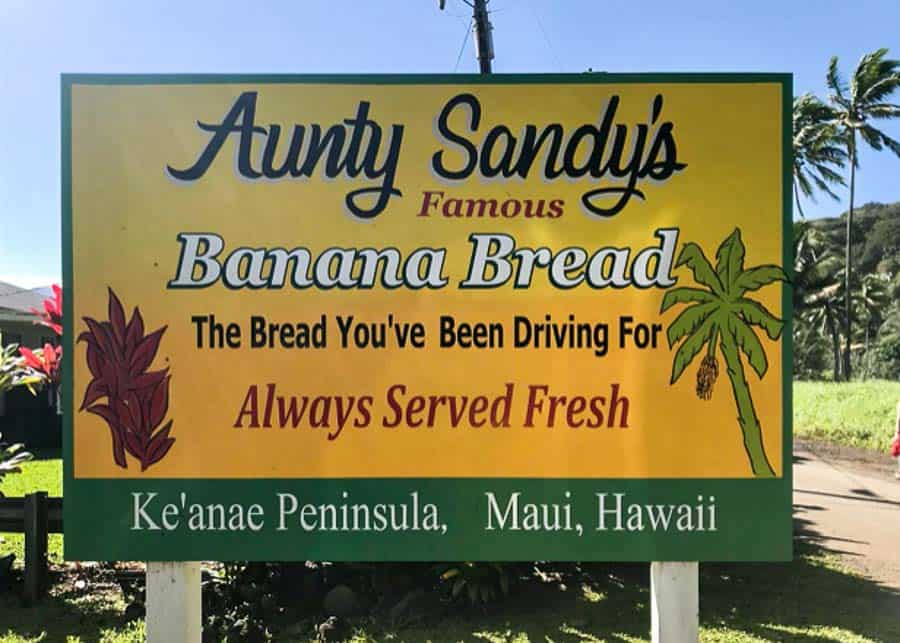 Sign for Aunty Sandy's Bakery in Ke'anae Peninsula