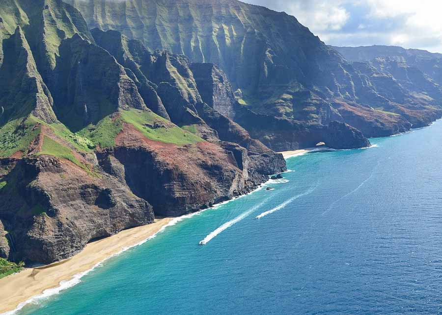 Kalalau Beach seen from the helicopter