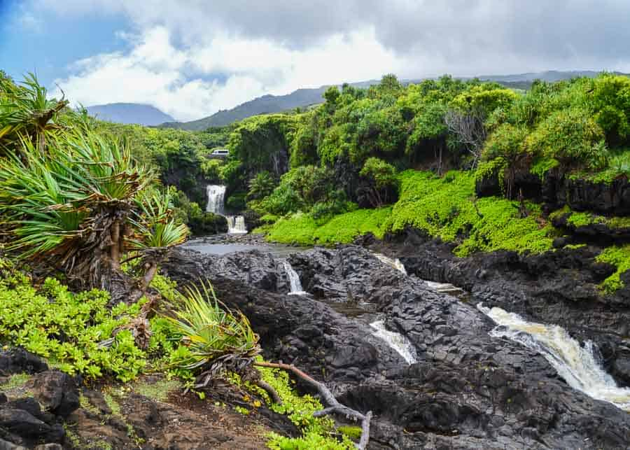 view of the Seven Sacred Pools on the Road to Hana