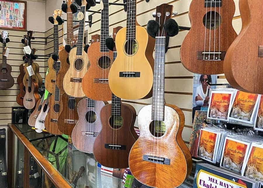 Hawaiian ukulele in a store
