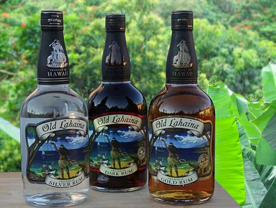 three bottles of rum from Hawaii