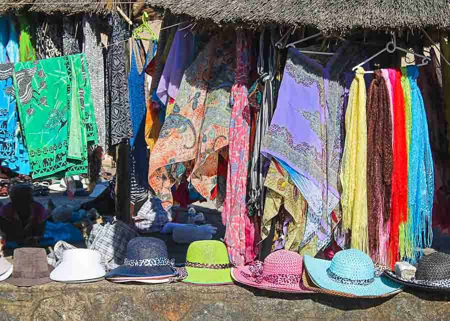 Sarongs for sale in an open market in Hawaii